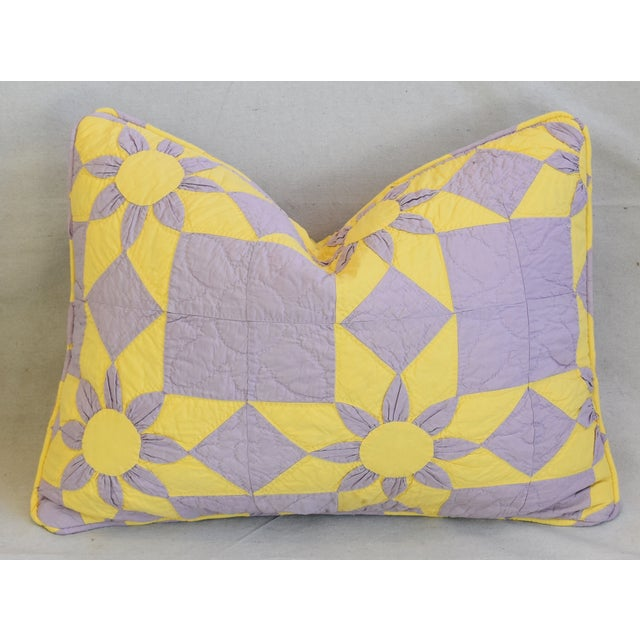 """Boho Chic Farmhouse Americana Patchwork Feather/Down Pillows 24"""" X 18"""" - Pair For Sale In Los Angeles - Image 6 of 13"""