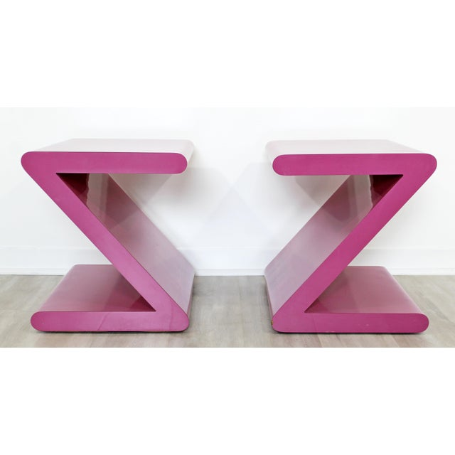 Contemporary Modern of Acrylic Z Shaped Side End Tables 1980s Pink - a Pair For Sale - Image 11 of 11