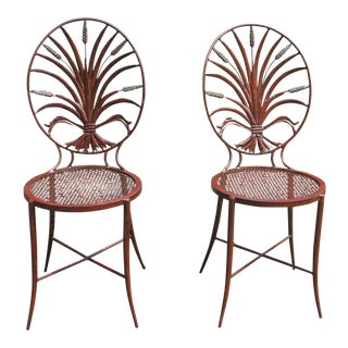 Pair of Salvadori Wheat Back Iron Chairs Italian Chairs For Sale