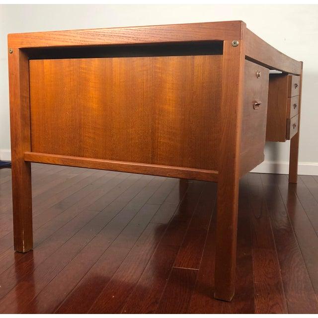 Brown 1960s Mid Century Modern Bent Silberg Teak Tanker Desk For Sale - Image 8 of 12