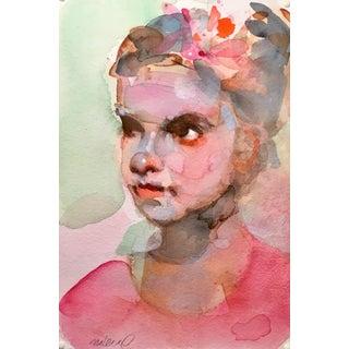 Magenta Girl, Original Watercolor Painting. For Sale