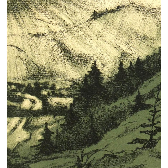 """Vintage Lithograph """"Mountain Valley,"""" C. 1950 - Image 2 of 4"""