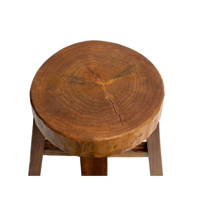 Chinese Rustic Bold Wood Round Stool - Image 3 of 5