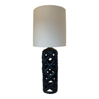 Vintage Faux Bamboo/ Fretwork Ceramic Lamp For Sale