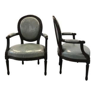 Mid-19th Century Louis XVI Style Armchairs - A Pair For Sale
