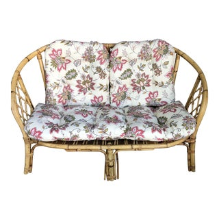1970s Vintage Floral Bamboo Sofa For Sale