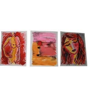 Fauvist Face Abstract Nude Paintings by Cleo Plowden - Set of 3 For Sale