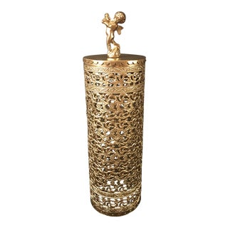 Hollywood Regency Gold Metal Hairspray Bottle Cover