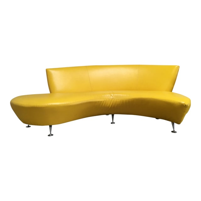 Vintage Modern Lather Kagan-Style Serpentine Sofa For Sale