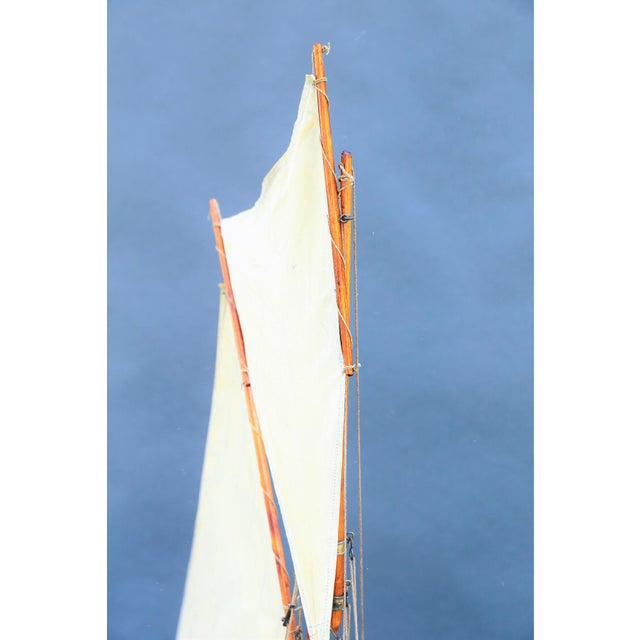 Boho Chic 5' Antique English Pond Yacht Cutter For Sale - Image 3 of 9