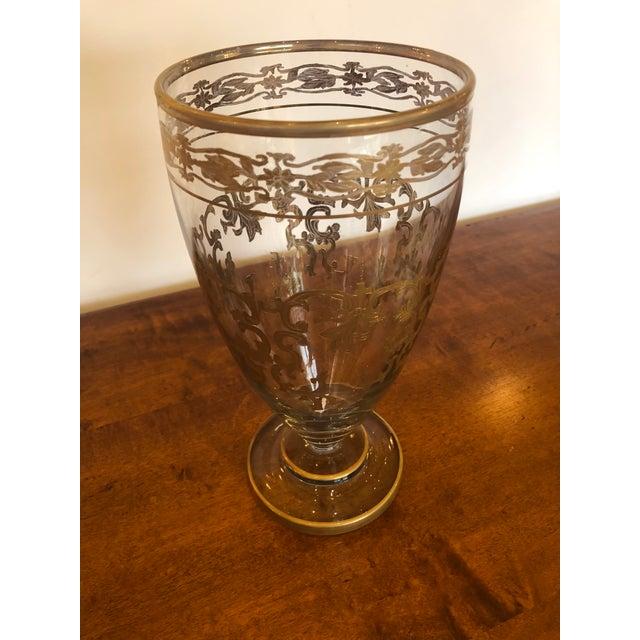 Vintage Gold Leaf Decorated Glass Vase For Sale - Image 9 of 9