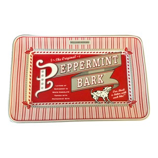 Vintage Williams Sonoma Peppermint Bark 1998 AD on Porcelain Tray For Sale