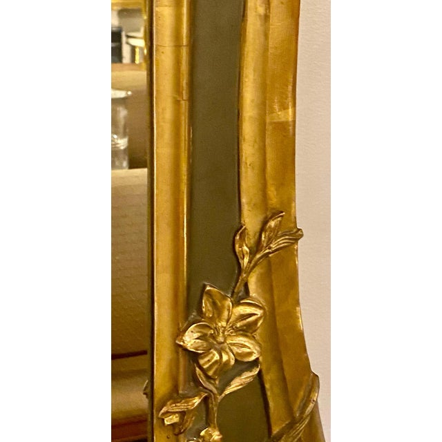 Belle Époque Style Wall or Over Mantel Mirror Art Nouveau Form For Sale - Image 9 of 13