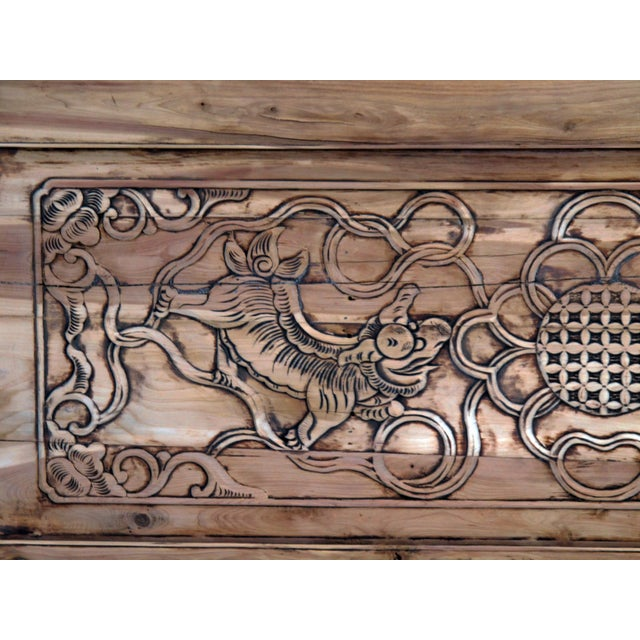 Asian Hand Carved Dancing Lions Wood Wall Panel For Sale - Image 3 of 4
