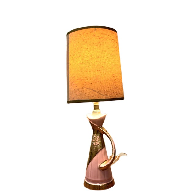 Pink and Gold Atomic Genie bottle bedroom lamp with shade. This would make a perfect lamp for a little girls room, if you...
