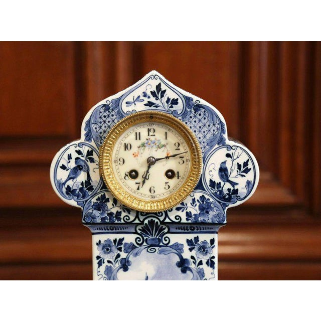 Early 20th Century Dutch Hand-Painted Blue and White Faience Delft Mantel Clock For Sale In Dallas - Image 6 of 13