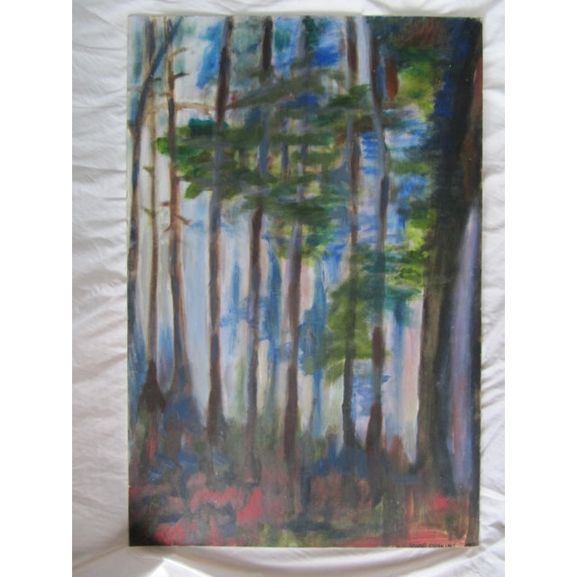 Impressionist Acrylic Painting of Redwoods For Sale - Image 6 of 7