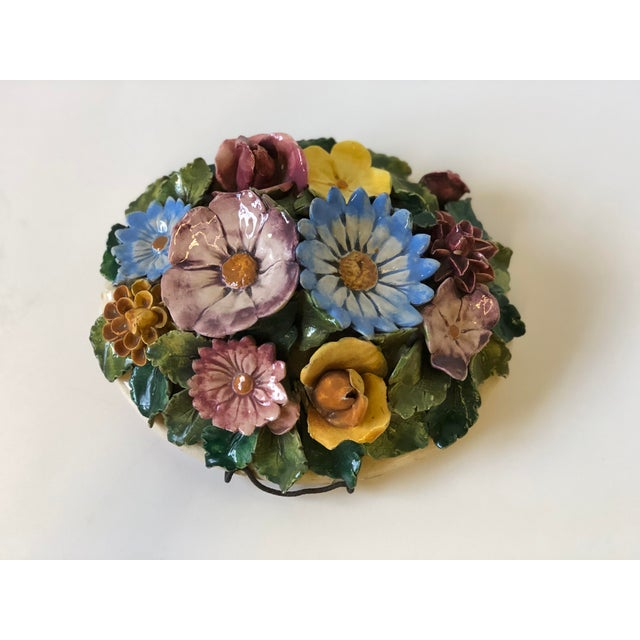 Floral Polychrome Ceramic Capodimonte Sculpture For Sale - Image 9 of 13