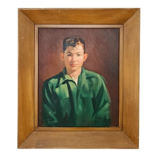 Vintage Oil on Canvas Portrait of a Male For Sale