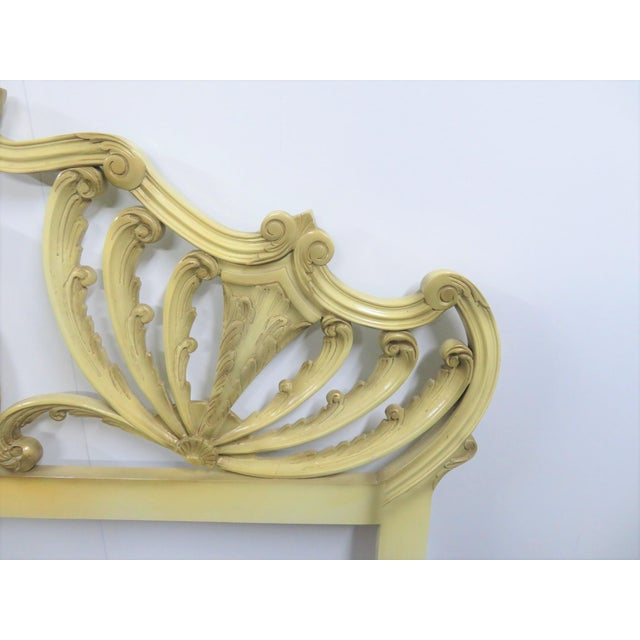 Italian Italian Rococo Cream & Gold Carved King Size Headboard For Sale - Image 3 of 4