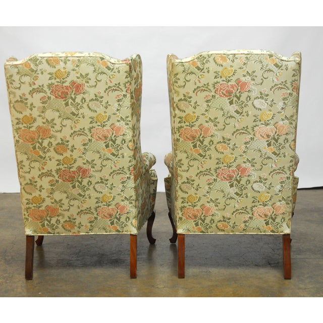 George II Style Brocade Wingback Chairs - A Pair - Image 5 of 9