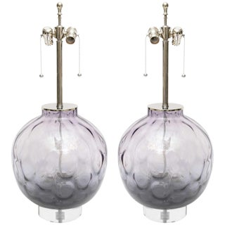Murano Lavender Chrome, Lucite and Purple Colored Lamps - a Pair For Sale