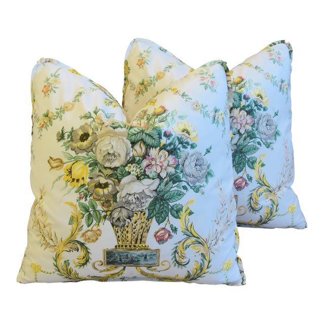 "Schumacher Floral Airlie Bouquet & Chenille Feather/Down Pillows 21"" Square - Pair For Sale"
