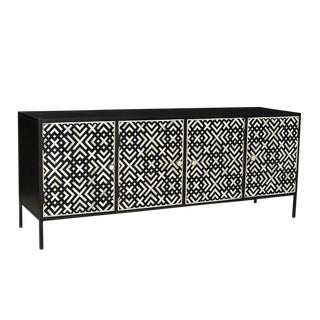 Graphic Inlay Sideboard For Sale