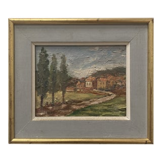 Early 20th Century French Provincial Landscape Oil Painting, Framed For Sale