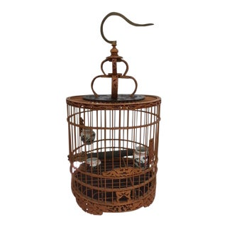 1920s Asian Bamboo and Brass Birdcage For Sale
