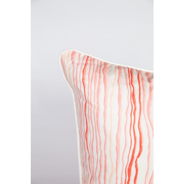 Pair of custom pink squiggle pattern pillows by Bassett McNab. Pattern on both sides, complimented with ivory linen...