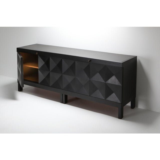 1970s 1970s De Coene Brutalist Stained Oak Credenza For Sale - Image 5 of 13