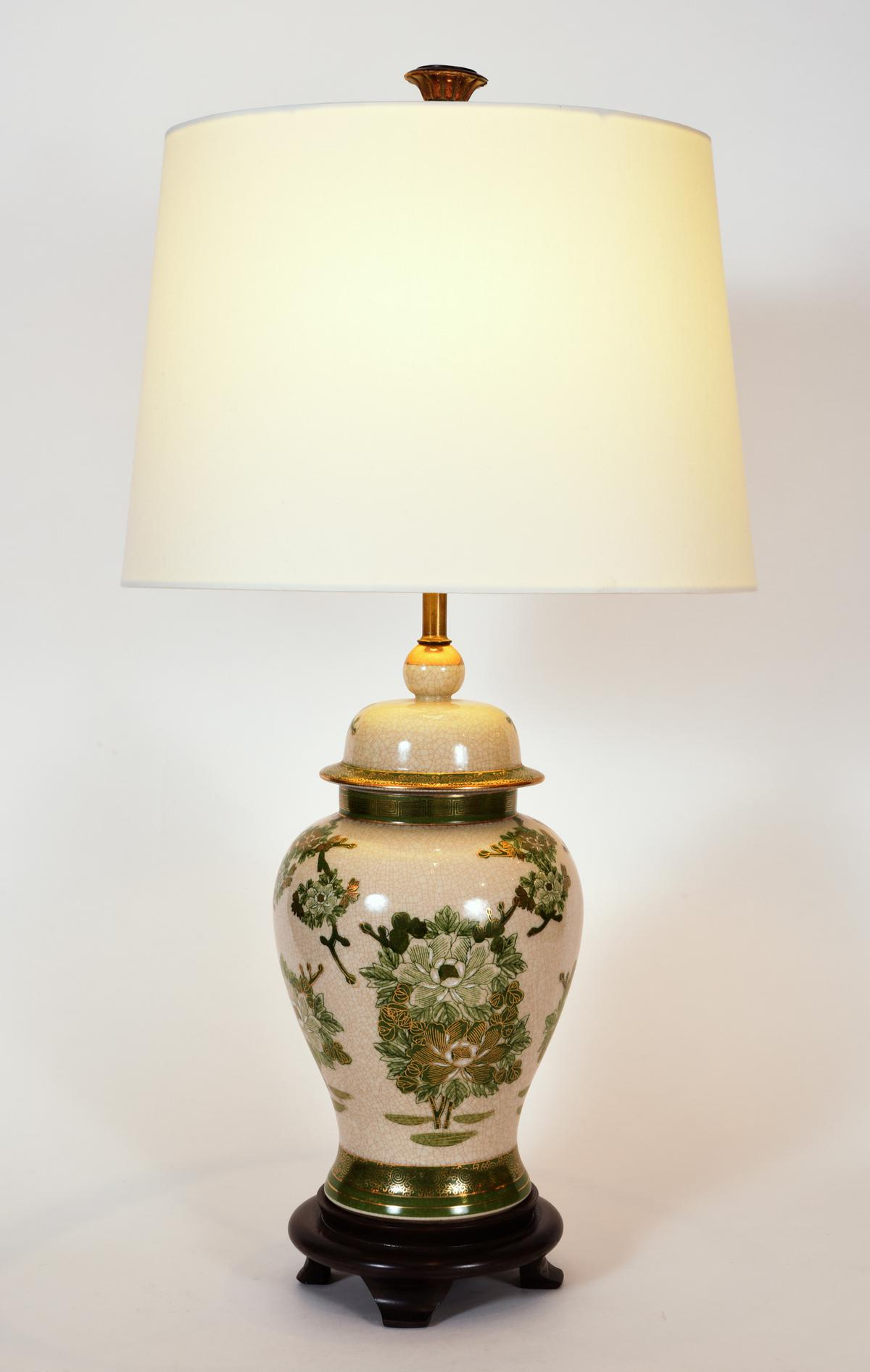 Gold Vintage Porcelain Table Lamps With Wood Base   A Pair For Sale   Image  8