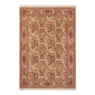 "Art Nouveau William Morris Pak Persian Dahlia Wool Area Rug - 6'0"" X 9'0"" For Sale"