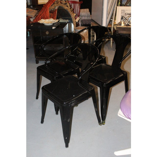 Late 20th Century Black Chairs- Set of 4 For Sale - Image 4 of 5