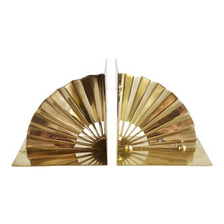 Mid-Century Brass Fan Shaped Bookends - a Pair