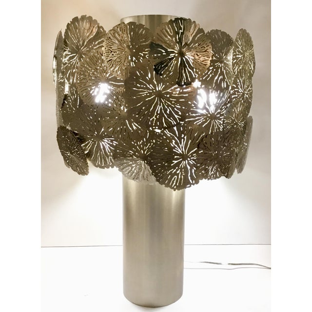 Studio A Home Modern Studio a Home Lily Pad Silver Metal Table Lamp For Sale - Image 4 of 6