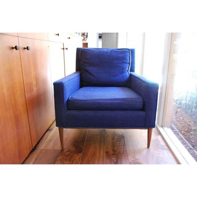1960s Vintage Mid-Century Modern Navy Wool Arm Chair For Sale - Image 5 of 5