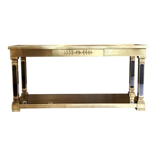 1970s Hollywood Regency Mastercraft Brass and Glass Console Table For Sale