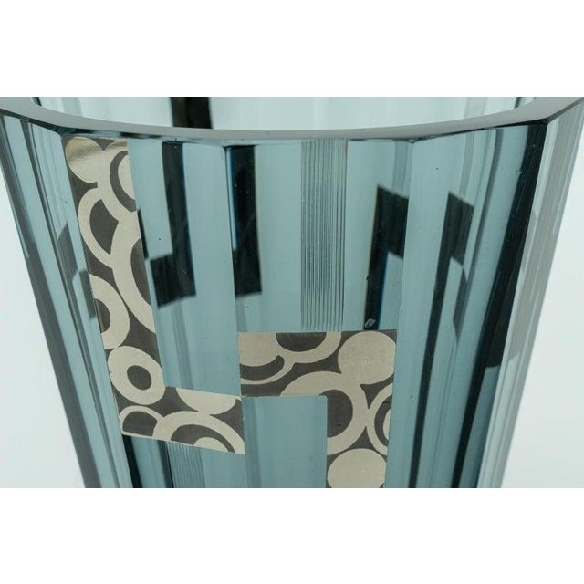 1920s 1920s Art Deco Crystal Vase With Silver Overlay For Sale - Image 5 of 9