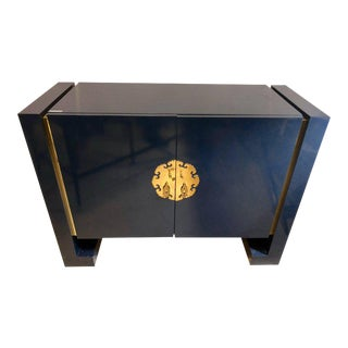 Blue Designer Oriental Cabinet or Commode in the Style of James Mott