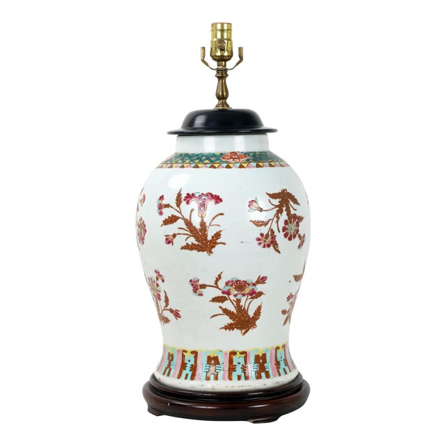 19th Century Famille Rose Temple Jar Lamp With Wooden Jar Cover For Sale