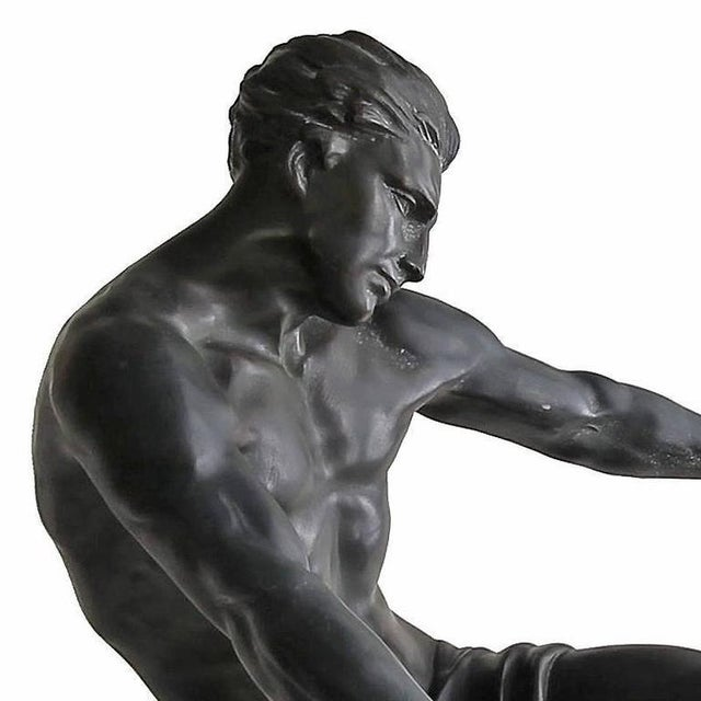 Early 20th Century Early 20th Century Vintage Art Deco Seminude Male Sculpture For Sale - Image 5 of 7