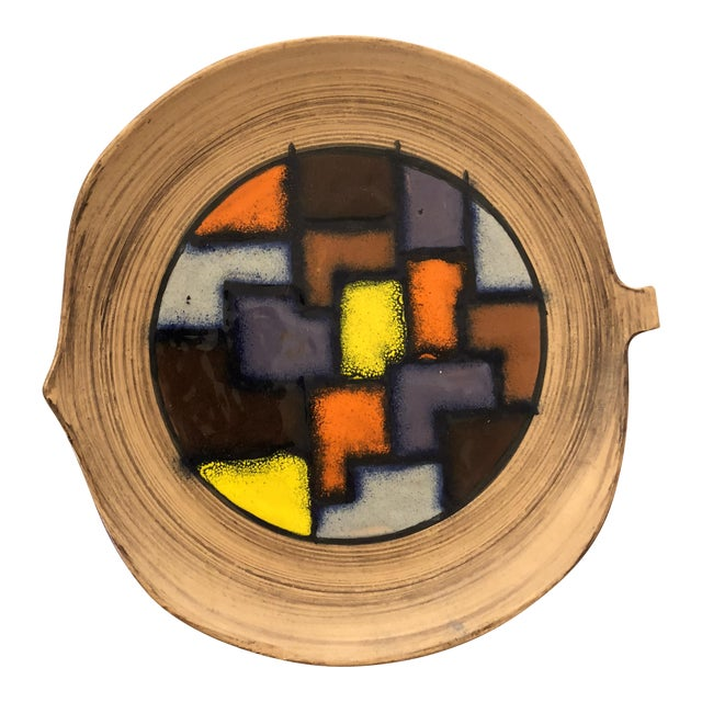 1970s Italian Abstract Enameled Ceramic Bowl For Sale
