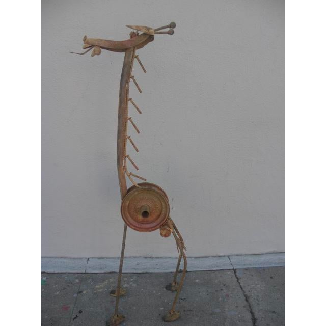 Abstract Abstract Salvaged Metal Giraffe Sculpture For Sale - Image 3 of 10