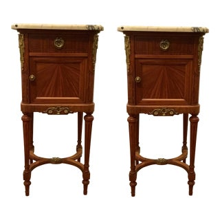Antique French Chamber Pot Wood and Marble Bedside Commodes Pair For Sale