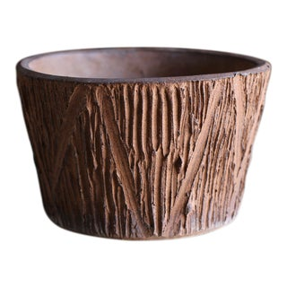 "Vintage Mid Century David Cressey for Architectural Pottery ""Scratch"" Pattern Planter For Sale"