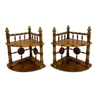 Vintage Faux Bamboo Corner Shelves-Pair For Sale