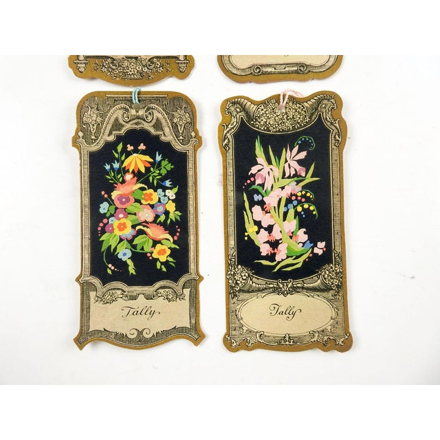 Lot of 4 circa 1930's die cut bridge tally cards place card holder. Baroque style with flowers, unused, with original silk...