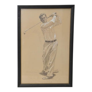 Vintage Graphite & Gouache Golfing Illustration by a.d. Mills C.1933 For Sale